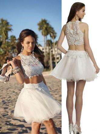 dress homecoming dress white lace top cocktail dress short homecoming dress white prom dress two piece dress set 2 piece skirt set