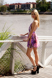 dress,backless,purple,floral,skater,shopfashionavenue,cute,criss cross back