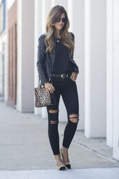 chicstreetstyle,blogger,jacket,jeans,bag,jewels,leather jacket,black ripped jeans,animal print bag,high heels