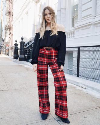 pants tumblr wide-leg pants tartan tartan pants top black top long sleeves off the shoulder off the shoulder top