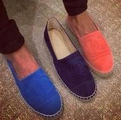 shoes,suede shoes,espadrilles,chanel shoes,chanel espadrilles,chanel,suede,wild leather,orange