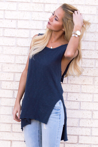 tank top top navy fall outfits fall top outfit jeans boyfriend jeans cute cute top style fashion trendy watch necklace gym hoodie side boob side split love