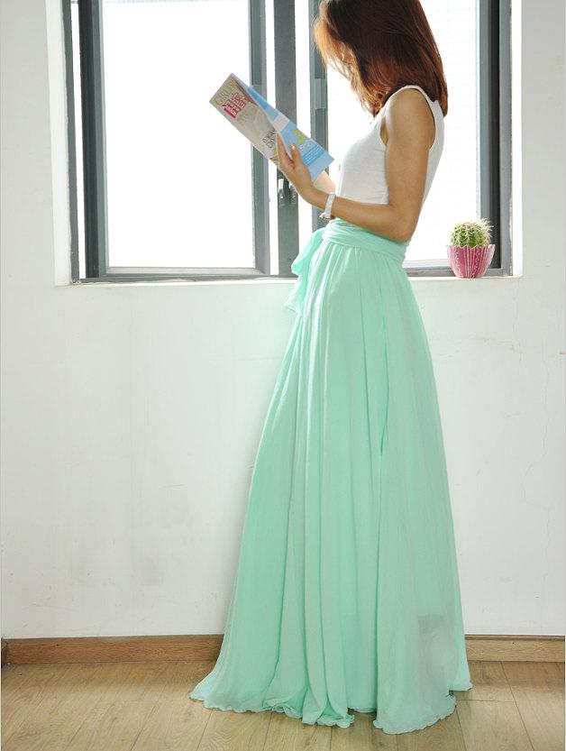 Waist Maxi Skirt Chiffon Silk Skirts Beautiful Bow Tie Elastic ...