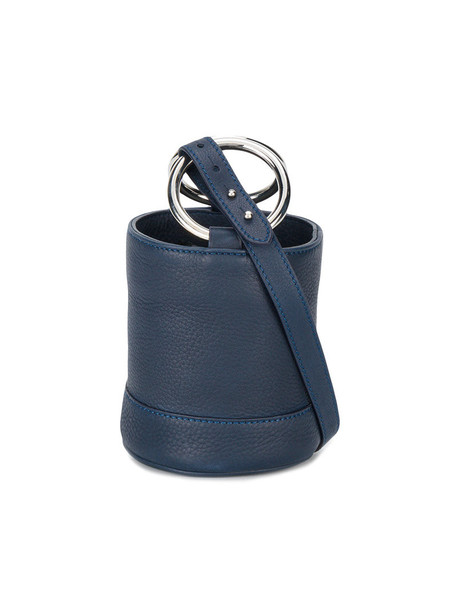 mini metal women bag bucket bag leather navy blue