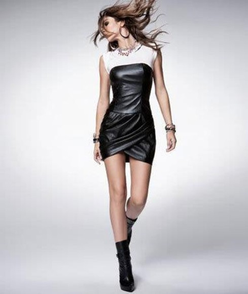 dress short black white tee leather little black dress