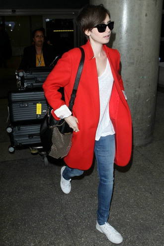 shoes coat sneakers lily collins red coat
