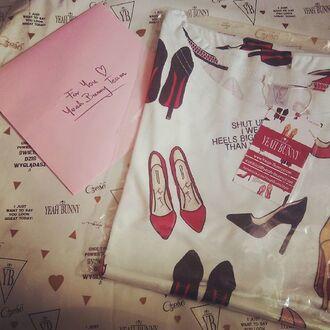 t-shirt yeah bunny high heels red heels girly cute sweet cotton annemerel blogger