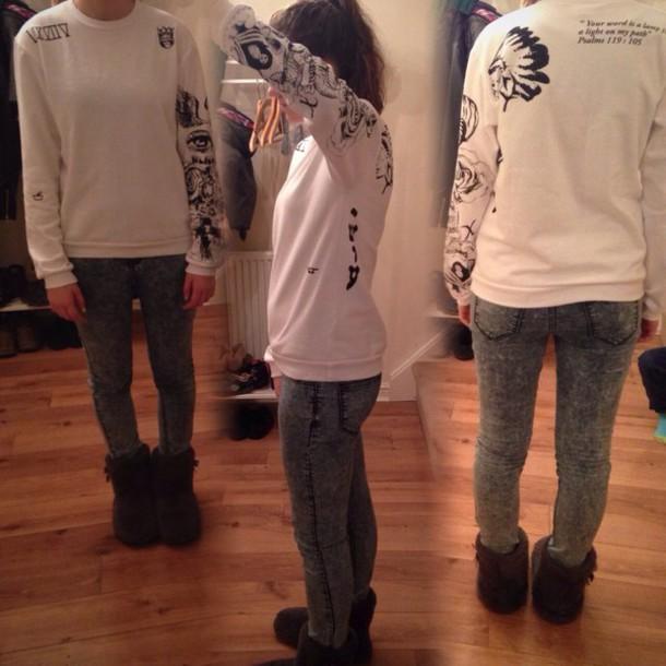 d1dacfbe7baf sweater justin bieber tattoos justin bieber crewneck back white amazing warm