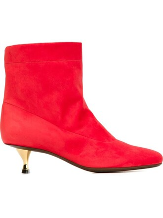 heel boots ankle boots red shoes