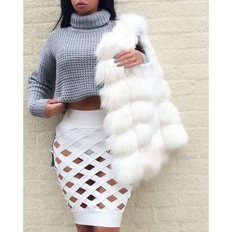 skirt maxi skirt white skirt fur scarf crop tops fancy clothes grey dress long sleeves turtleneck sweater