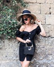 dress,black dress,mini dress,button up,off the shoulder dress,bag,sunglasses,straw hat