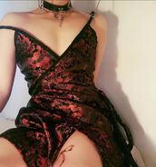 dress,o-mighty,wrap dress,red dress,black dress,oriental print,oriental,spaghetti strap,embroidered dress,v neck dress,red and black,metallic,dragons