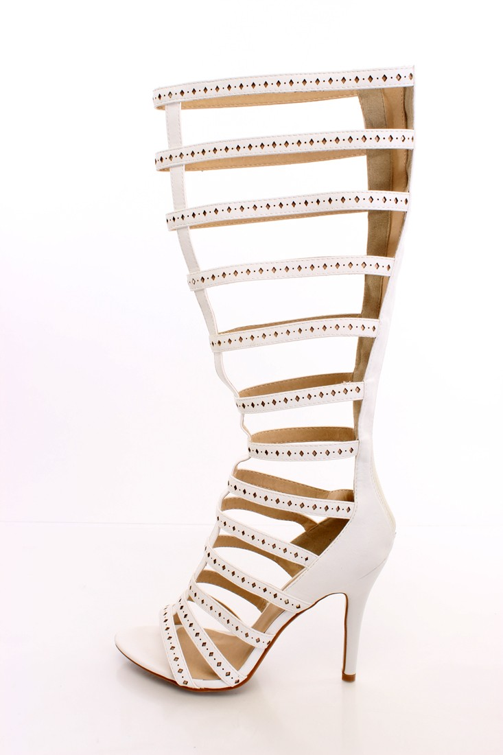 White Gladiator Heels Faux Leather