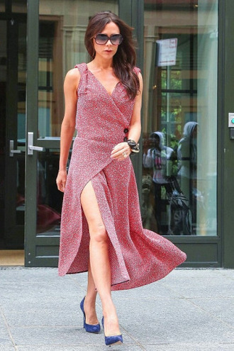 dress wrap dress midi dress victoria beckham pumps sunglasses shoes