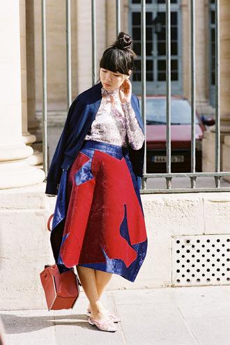 vanessa jackman blogger bun midi skirt top knot bun blue jacket bomber jacket lace top