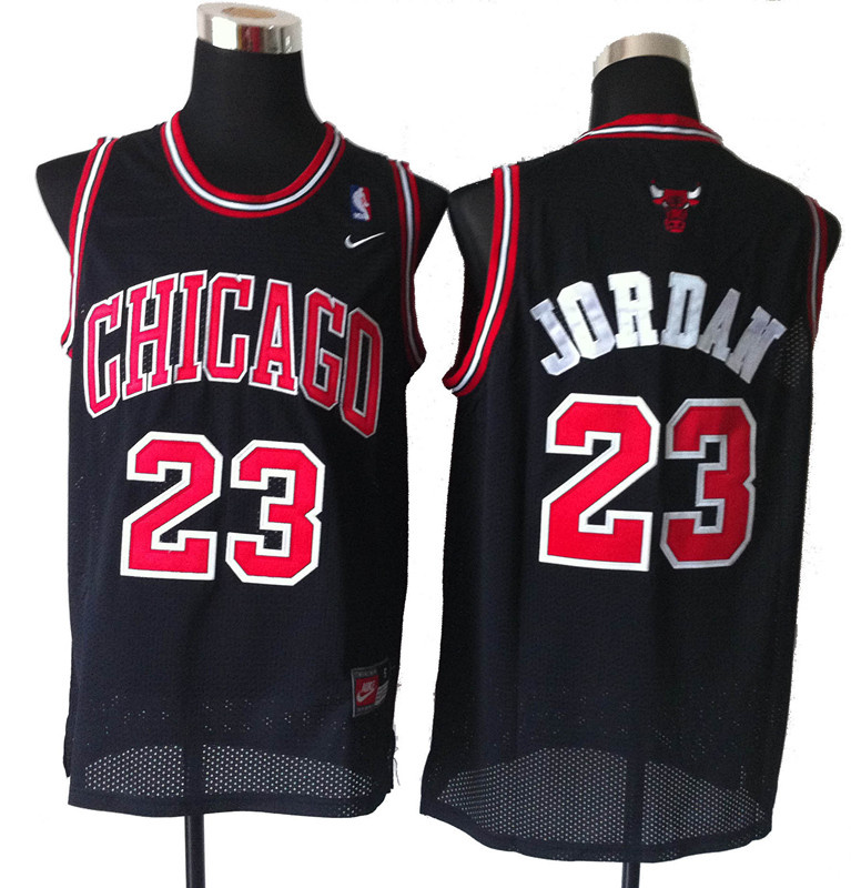 Cheap & wholesale nba chicago bulls 23 jordan black and red number jerseys from china