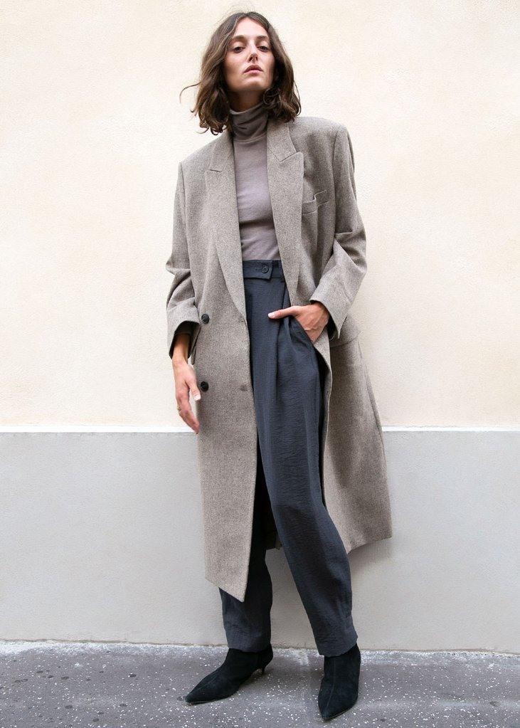 Beige Double Long Wool Blend Coat by Low Classic