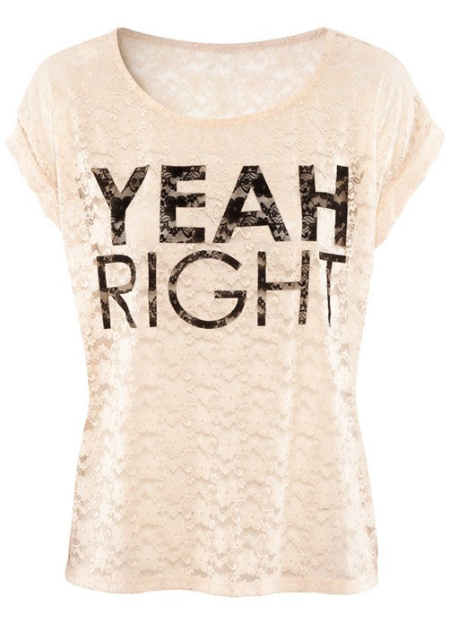 Light Pink Short Sleeve YEAH RIGHT Print T-Shirt - Sheinside.com