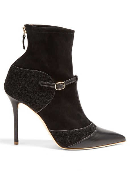 MALONE SOULIERS ankle boots leather suede black shoes