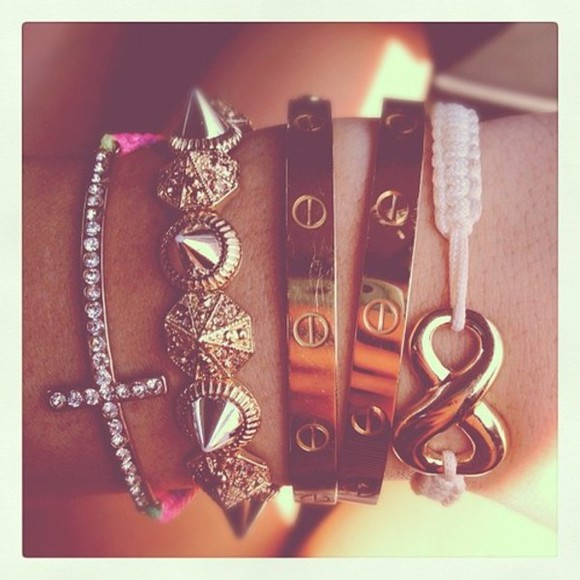 jewels bracelets fashion arm candy cuffs bangles cute peace cross spikes cartier luxury bling glam fashionable