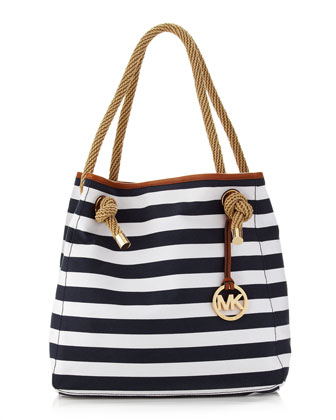 MICHAEL Michael Kors Marina Large Canvas Grab Bag, Navy/White - Michael Kors