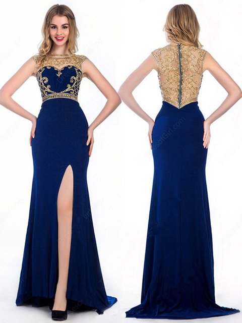 Aliexpress.com : Buy Nwe Royal Blue Prom Dresses Gold Crystal With ...