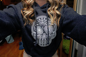 shirt,skull,hoodie,blackish gray,flower eyes,top