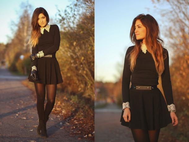 dress black lace collar jewels