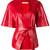 Drome - belted v-neck jacket - women - Lamb Skin/Acetate/Viscose - M, Red, Lamb Skin/Acetate/Viscose