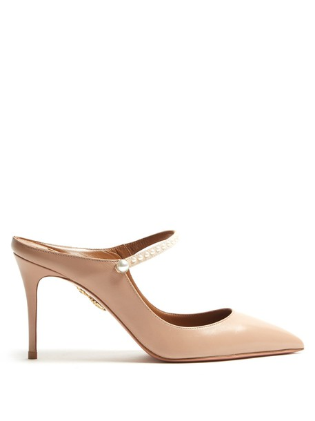 Aquazzura backless mules leather nude shoes