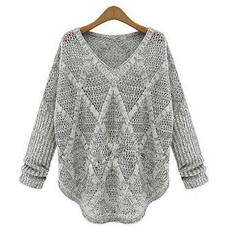sweater grey fashion long sleeves knitwear cozy trendsgal.com