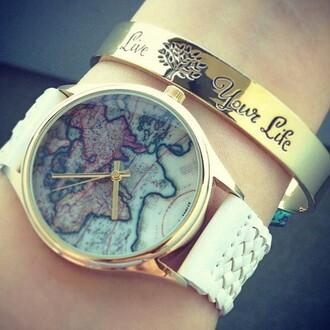 jewels bracelets watch map print