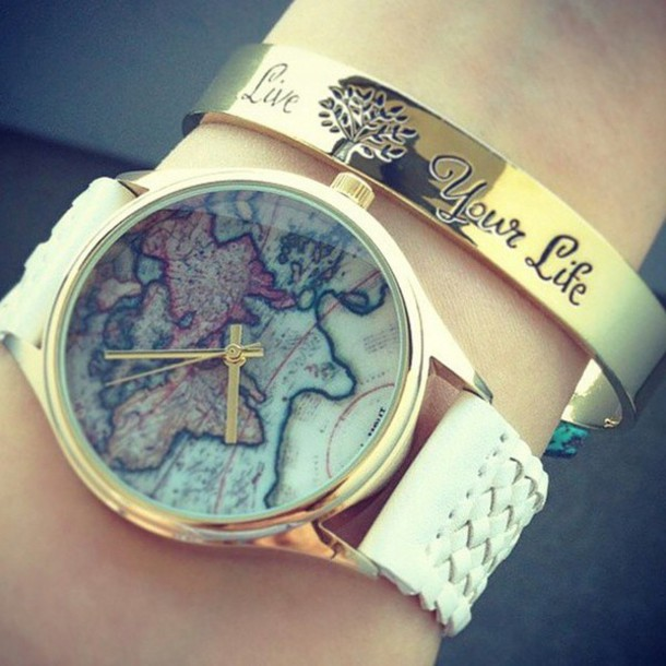 jewels bracelets watch map print