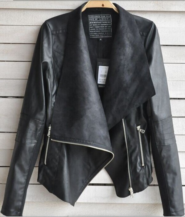 jacket black long sleeves zip pu leather women overcoat punk style dress denim autumn/winter overcoat leather jacket coat spring outfits