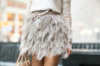 skirt grey skirt bag sweater lace feather skirt beige skirts beige belt lace top