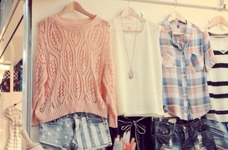 sweater shirt shorts pink knitted sweater spring outfits preppy denim shorts white plaid wool