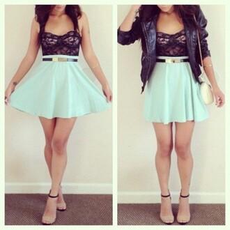 top cute! skirt jacket heels belt mint