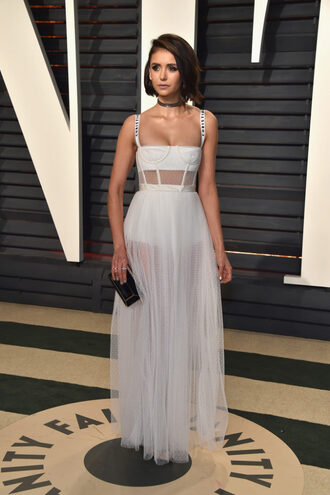 dress gown nina dobrev bustier dress oscars oscars 2017 tulle dress