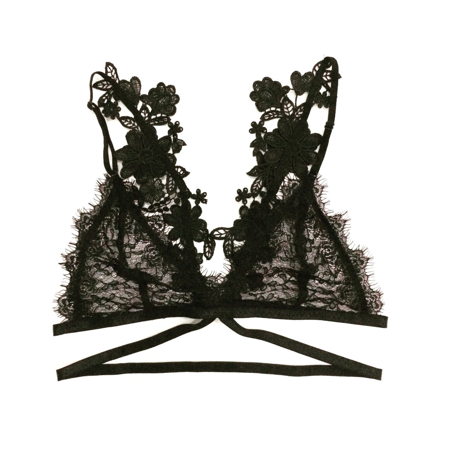 SPECIAL PROMOTION 30% discount - Bralette, lace bra, back applique, handmade bralet, sexy lingerie - Butterfly