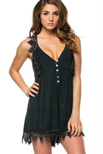 romper girly black cute summer fashion style trendy freevibrationz spring black dress free vibrationz