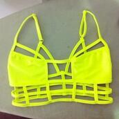 swimwear,yellow,sea,sun,neon,neon bikini,summer,geometric