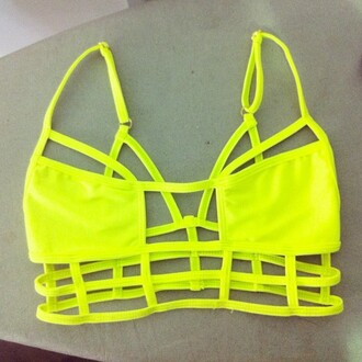 summer outfits swimwear yellow sea sun neon neon bikini geometric