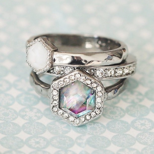 jewels ring stone ring stackable rings silver diamonds rainbow rainbow stone stone jewelry white ring silver ring diamond ring white stone purple stone Turquoise Stone summer accessories accessories for summer complete the outfit classic rich kids super rich kid classy outfit classy outfit