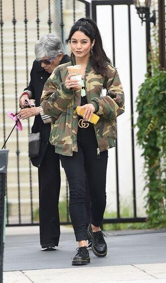 shoes jacket camo jacket camouflage vanessa hudgens streetstyle