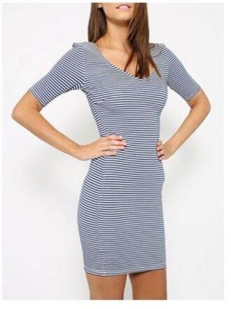 blue and white stripes blue striped dress v neck dress short sleeve dress bodycon dress mid thigh dress www.ustrendy.com