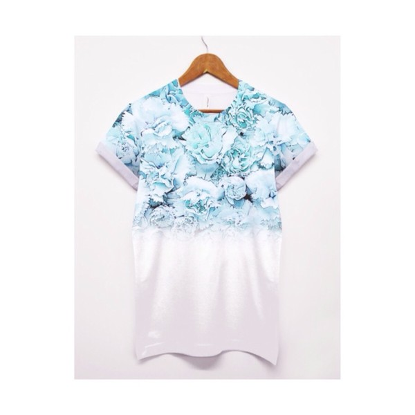 shirt floral light blue