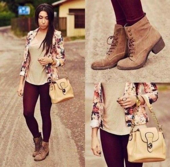blazer jacket fashion shoes boots fall outfits floral style roses burgundy