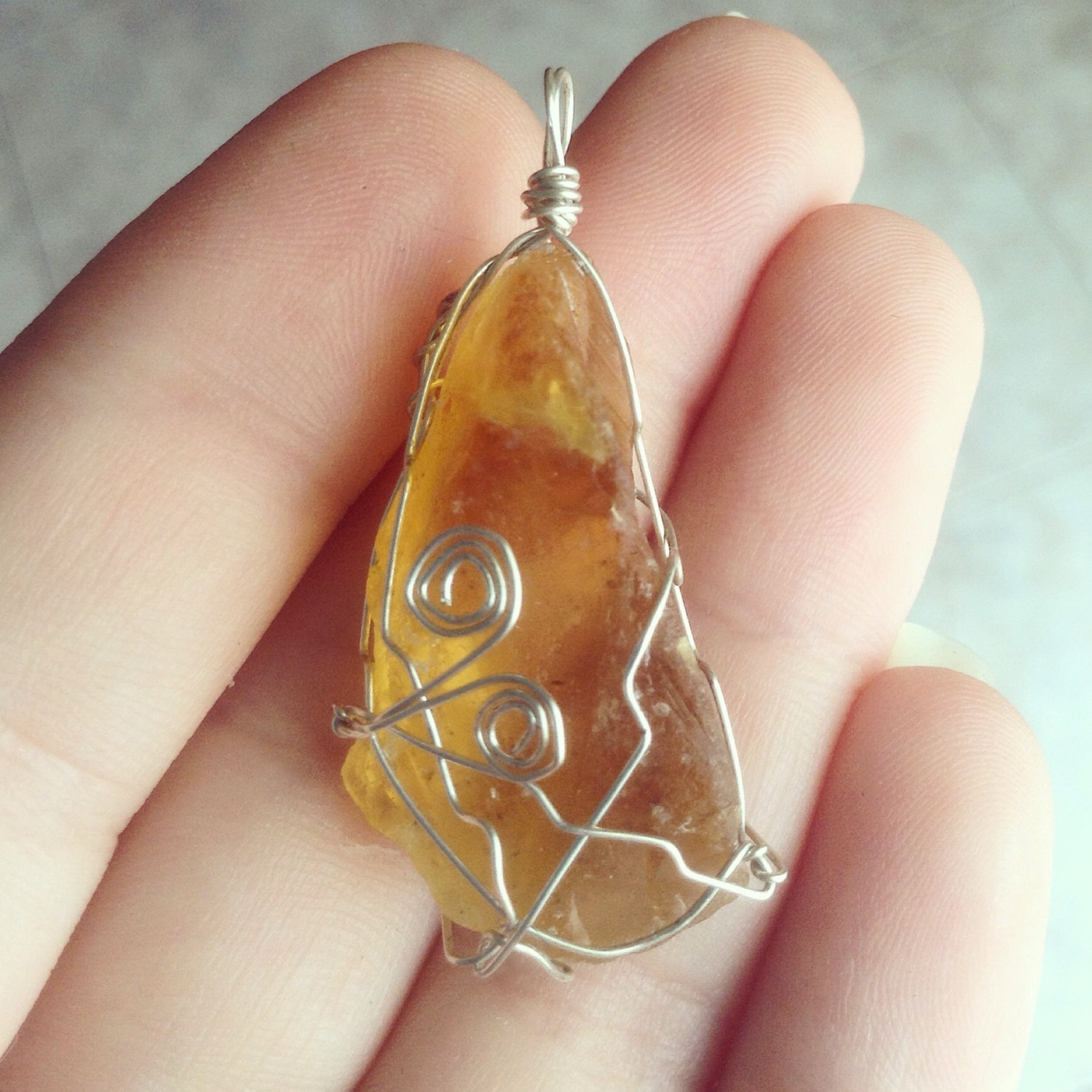 Rough Orange Calcite pendant - Silver wire wrapped - Pisces - Choose your own chain