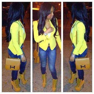 yellow jacket boots heel boots