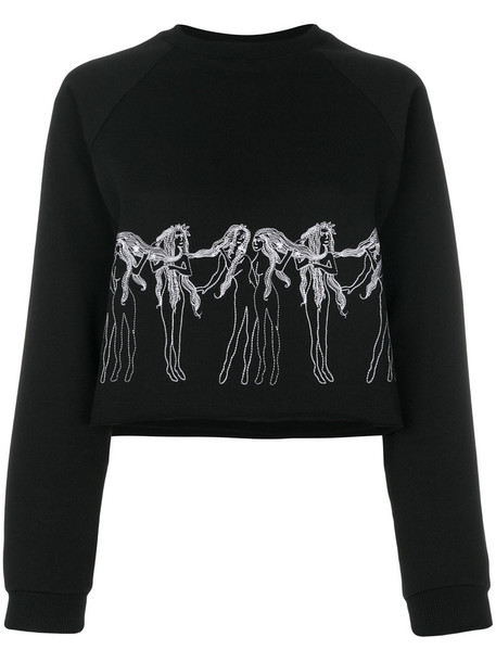 Giamba - embroidered sweatshirt - women - Cotton - 42, Black, Cotton